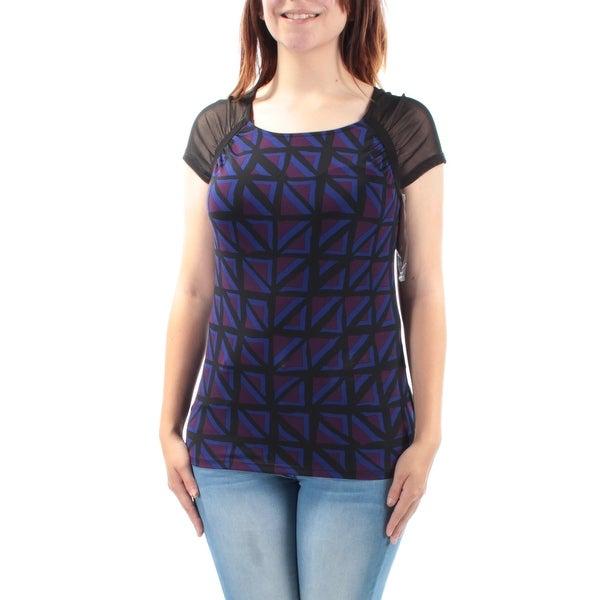 ANNE KLEIN Womens Black Geometric Cap Sleeve Jewel Neck Tunic Top Size: 2