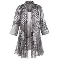 Women's Puzzle-Print Jacket With White T-Shirt Set - 3/4 Sleeves