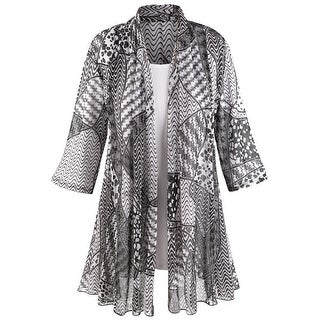 Women's Puzzle-Print Jacket With White T-Shirt Set - 3/4 Sleeves (3 options available)
