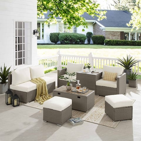 8 PCS Outdoor Patio Furniture Sofa Sets, Wicker Rattan Sectional Sofa Set with 2 Storage Tables