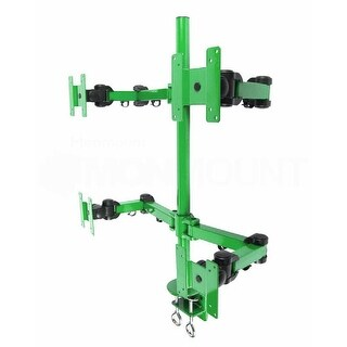 MonMount Heavy Duty Deluxe Green Quad LCD Desk Mount Stand Clamp 4 Monitors