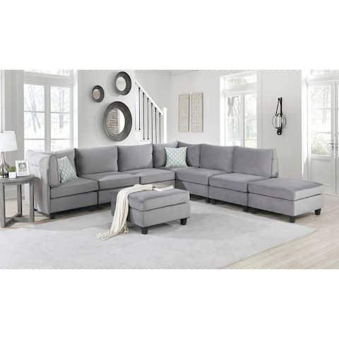 Zelmira Gray Velvet Fabric 8Pc Modular Sectional Sofa Corner Couch
