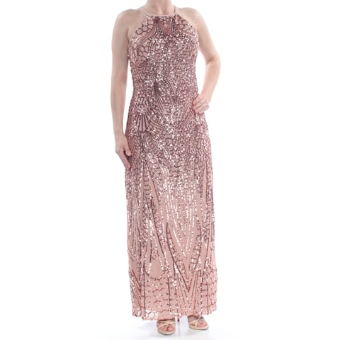 851582d874f0 NIGHTWAY Womens Pink Sequined Low Back Sleeveless Halter Full-Length Formal  Dress Size: 6