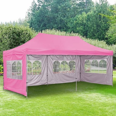 Ainfox 10x20ft Pop-up Canopy Tent with 4 Removable Sidewalls and 4 Transparent Windows