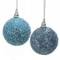 Light Blue Beaded Silver Tinsel Confetti Christmas Ball Ornaments