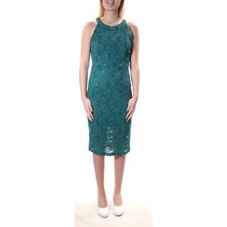 TRIXXI Teal Scoop Neck Sleeveless Knee Length Body Con Dress 5 B+B