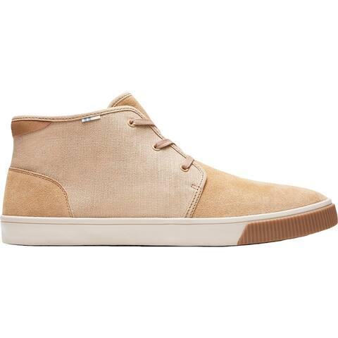 Toms Mens Carlo Sneakers Suede Canvas - Desert Tan Suede/Heritage Canvas - 9.5 Medium (D)