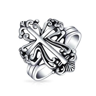 Antique Style Sterling Silver Fleur De Lis Cross Ring