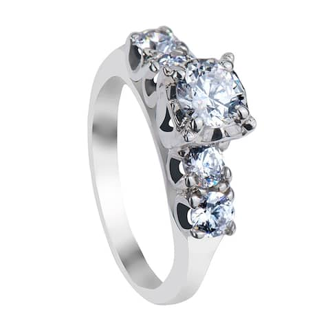 ANNABEL Five Stone Palladium Engagement Ring with Polished Finish - MADE WITH SWAROVSKI® ELEMENTS