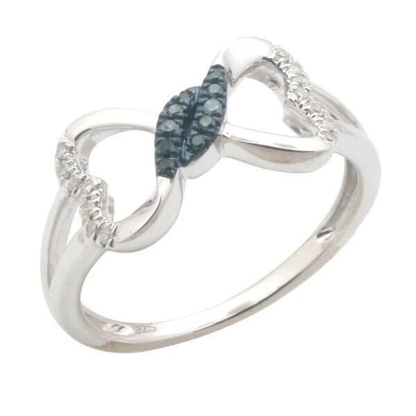 Beautiful Round Brilliant Cut Micro Pave Set Blue & White Diamond Promise Ring