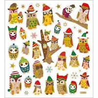 Owls In Christmas Hats - Multicolored Stickers