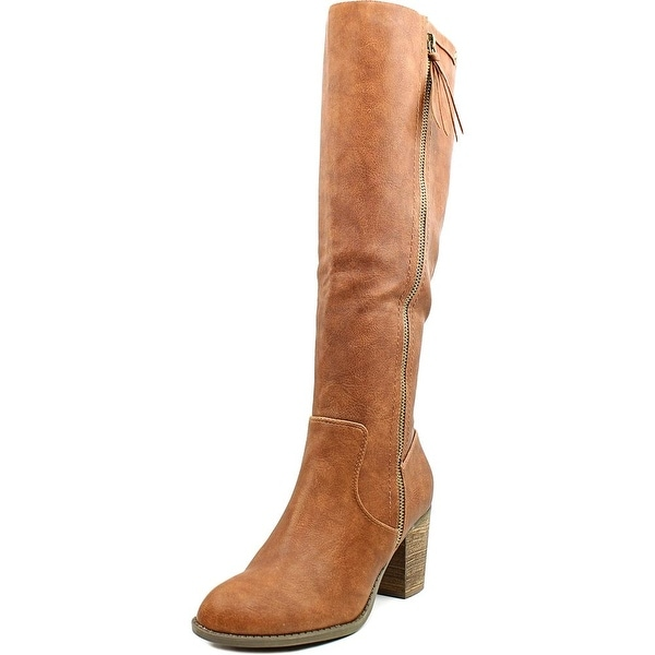 Crown Vintage Pilot Wide Calf Women Round Toe Synthetic Brown Over the Knee Boot