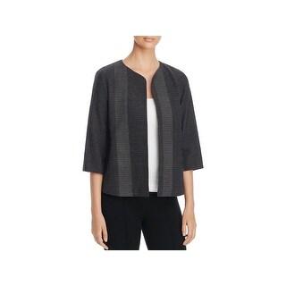 Eileen Fisher Womens Open-Front Blazer Woven Pattern Round Neck