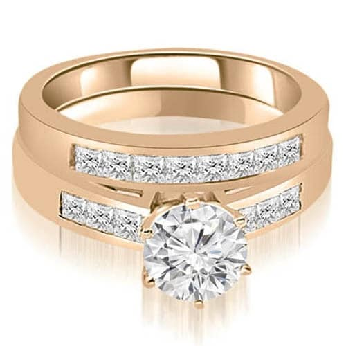 1.45 cttw. 14K Rose Gold Channel Set Round & Princess Cut Diamond Bridal Set