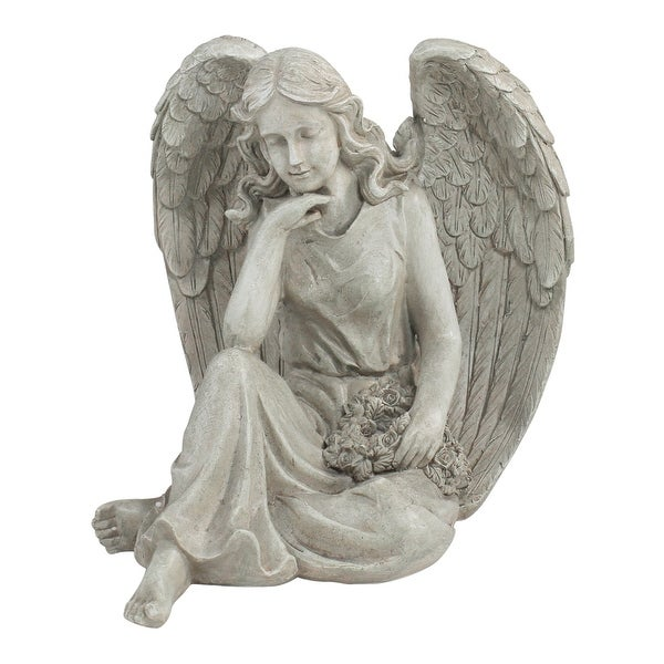 """16.5"""" Sitting Angel Holding a Floral Wreath Outdoor Garden Statue - N/A"""