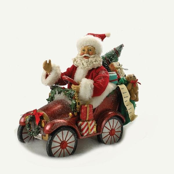 "10"" Fabriche Musical Santa Driving Car Christmas Table Top Decoration"