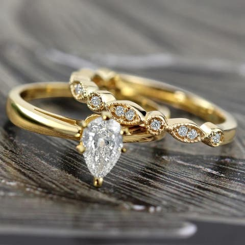 Auriya 14k Gold 1/2ctw Vintage Pear Shape Solitaire Diamond Engagement Ring Set