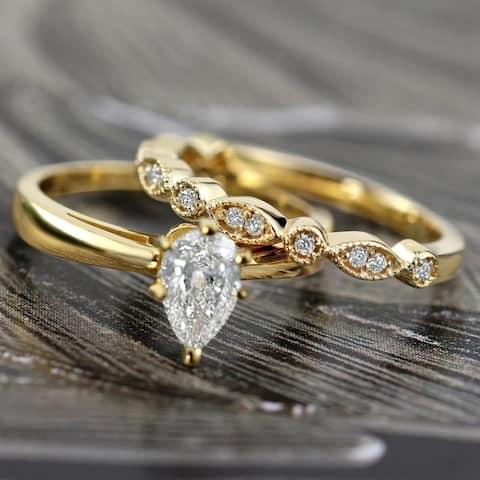 Auriya 14k Gold 1/2ctw Vintage Pear Shape Solitaire Diamond Engagement Ring Set