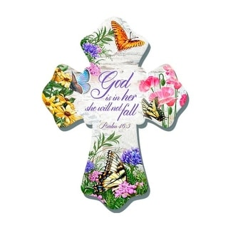 """8"""" White and Pink Biblical Quoted Butterflies Wall Cross - N/A"""