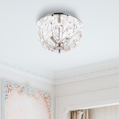 CO-Z 13-inch 3-light Flush Mount Crystal Bowl Chandelier Ceiling Light - Clear