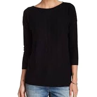 Three Dots NEW Black Ribbed-Knit Women Medium M Boat Neck Silk Sweater
