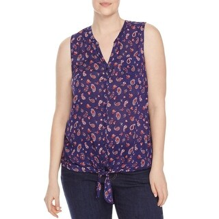 Lucky Brand Womens Plus Blouse Printed Button Down