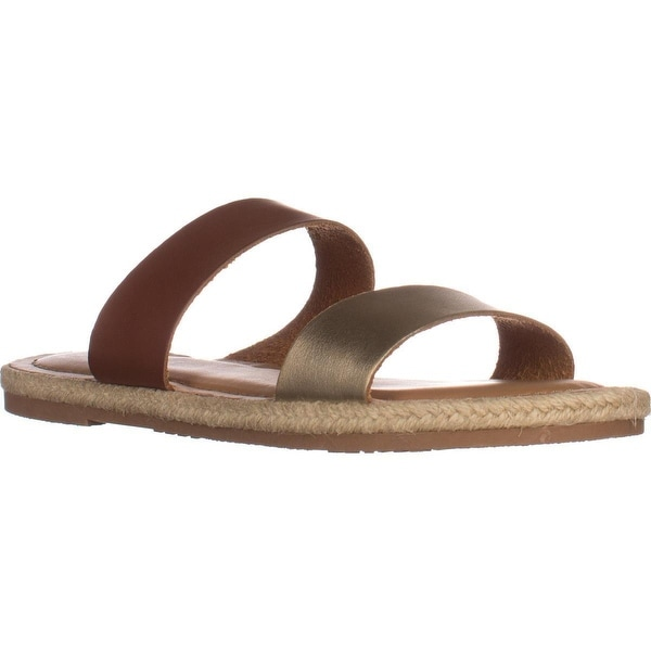 Esprit Veronica Two Strap Sandals, Cognac/Gold