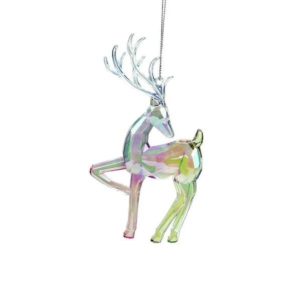 "5.75"" Clear Iridescent Rainbow Finish Standing Reindeer Christmas Ornament"