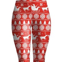 Women's Christmas Leggings Large Red