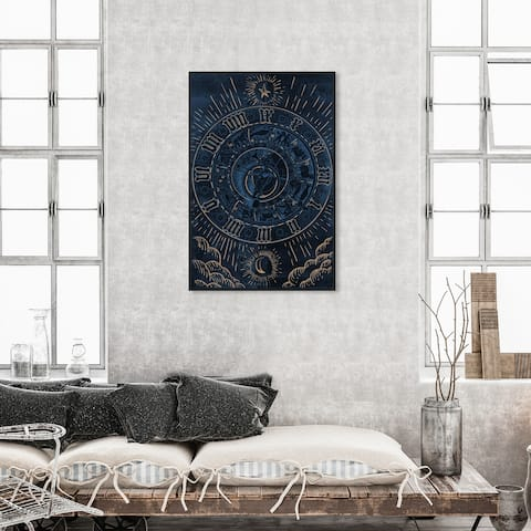 Oliver Gal 'Astrology Eyes III' Spiritual and Religious Wall Art Framed Canvas Print Astrology - Blue, Gold