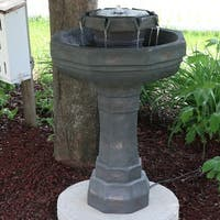 Sunnydaze 2-Tier Flowing Citadel Fountain Solar on Demand Water Fountain 29-Inch