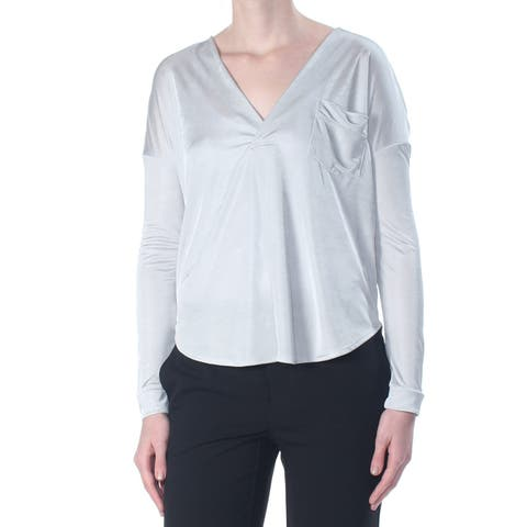 KIIND OF Womens Silver Pocketed Heather Long Sleeve V Neck Sweater Size: XS