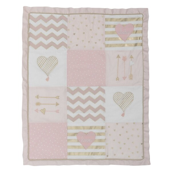 4 Piece Crib Bedding Set Baby Pink Gold