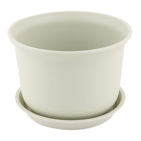 Balcony Office Round Plant Holder Container Flower Pot Tray Pale Green - Pale Green