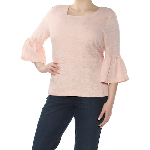 1ae4e4c372 CALVIN KLEIN Womens Pink Textured Bell Sleeve Square Neck Blouse Wear To  Work Top Size