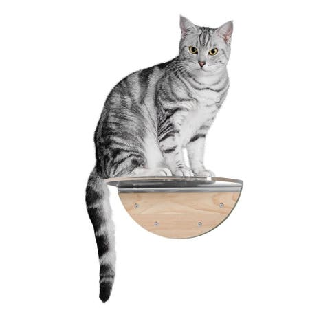 MYZOO Round Lack Clear (1 pcs) Wall Mounted Cat Shelves with Transparent Board - Beige