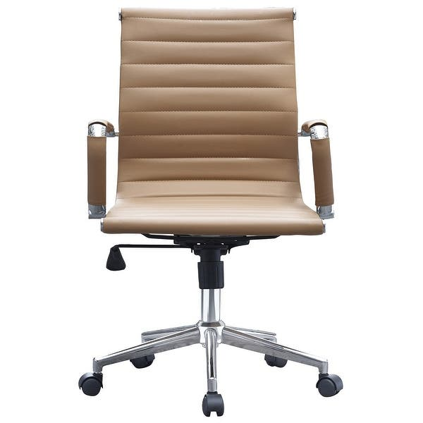 Shop 2xhome Tan Ergonomic Designer Mid Back Pu Leather Executive Office Chair Ribbed Swivel Tilt Conference Room Boss Home Wheels On Sale Overstock 17743456