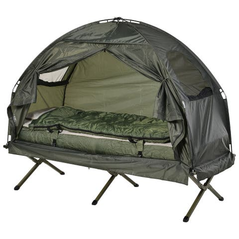 Outsunny Portable Camping Cot Tent with Comfortable Air Mattress, Warm & Cozy Sleeping Bag, and a Supportive Pillow