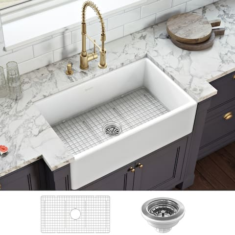 Ruvati 30 x 20 inch Fireclay Reversible Farmhouse Apron-Front Kitchen Sink Single Bowl - White - RVL2100WH