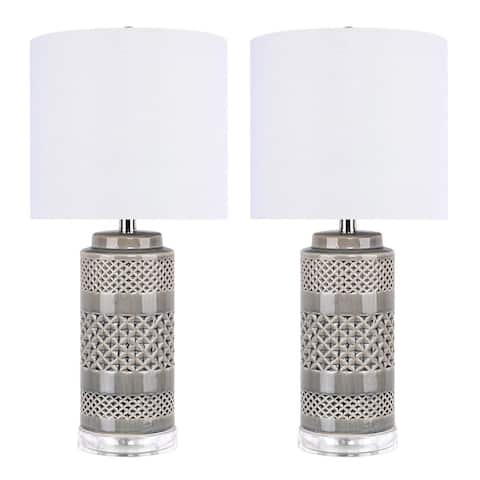 """21"""" Ceramic Table Lamp w/ Cylindrical Base & Linen Shade (Set of 2)"""