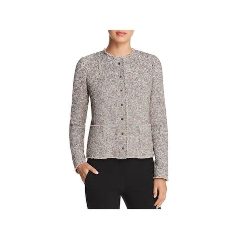 BOSS Hugo Boss Womens Koralie12 Tweed Jacket Fringe Long Sleeves
