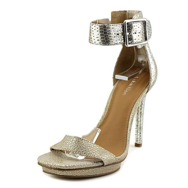 Calvin Klein Womens Vable Leather Open Toe Casual Ankle Strap Sandals