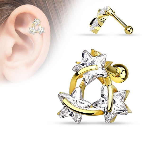 {Gold/Clear} Star CZ Triangle gold-plated Over Steel Cartilage/Tragus Bar (Sold Individually)