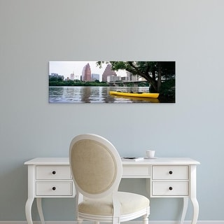 Easy Art Prints Panoramic Image 'Yellow kayak in reservoir, Lady Bird Lake, Colorado River, Austin, Texas' Canvas Art