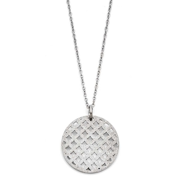 Chisel Stainless Steel Circular Pendant Necklace (1 mm) - 18 in