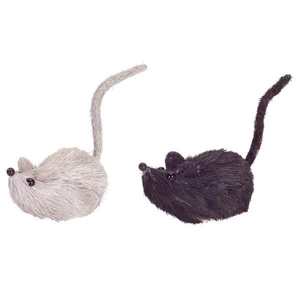 """Pack of 12 Black and White Sisal Mouse Decorations 3.5"""""""