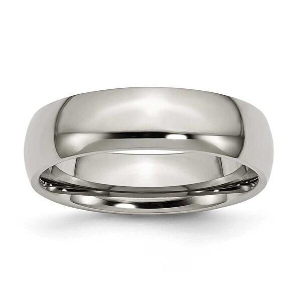Chisel Rounded Polished Titanium Ring (6.0 mm)
