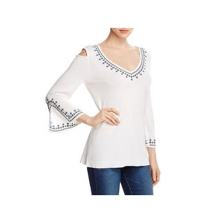 Love Scarlett Womens Casual Top Woven Cold Shoulder