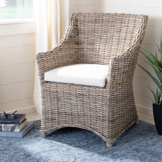 Link to Safavieh Dining Rural Woven St Thomas Wicker Washed-out Brown Wing Back Arm Chair Similar Items in Living Room Chairs