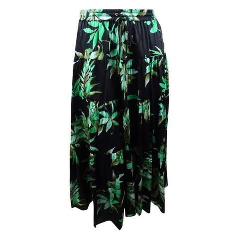 Lauren Ralph Lauren Women's Printed Cotton Midi Skirt (L, Black) - Black - L